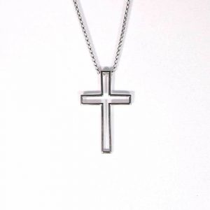 "Sterling Silver Cross on a round box 20"" chain"