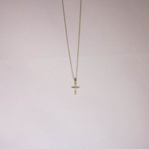 18K Yellow Gold Diamond Cross