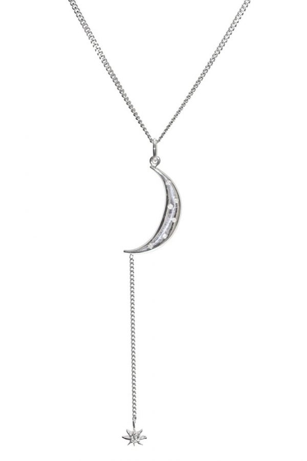 Sterling Silver Y Neck Moon and Star
