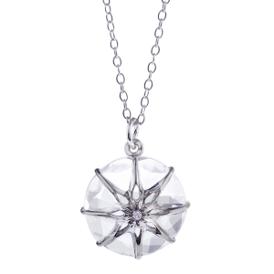 Star Crystal pendant with Diamond Center