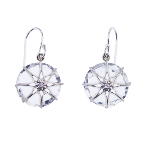 Star Crystal Earring with a Diamond in the center in Sterling Silver